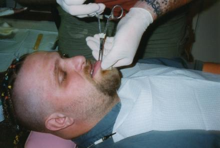 Piercing Shawn from Slipknot at the old studio