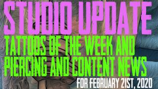 Tattoos of the Week from Jack, Westley, and Jimmy and the latest in Piercing & Content News from DaVo - Studio Update for Feb 21st, 2020 - https://youtu.be/vMFmvZ3KT6k
